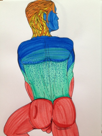"""From Behind. 2013. Bobby-james """"Faceless Man"""" Series. Marker"""