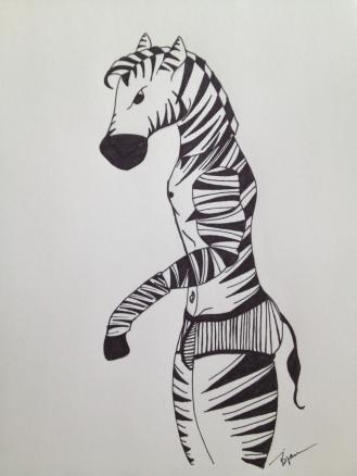 "Zebra. 2013. Bobby-james ""Kingdom Masks"" Series. Marker"
