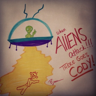 Roswell. 2013. Bobby-james. Marker. I created this piece with my 4 year-old nephew Cody.