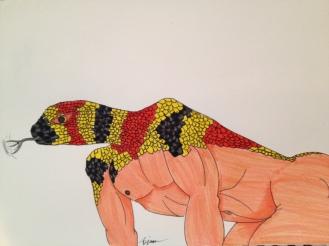 "Snake. 2013. Bobby-james ""Kingdom Masks"" Series. Marker"