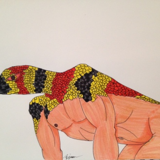 "Snake. 2013. Bobby-james ""Kingdom Masks"" Series. Marker"