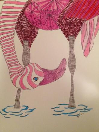 The Odd Flamingo. 2012. Bobby-james. Pen/Marker