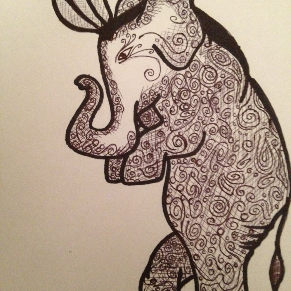 "The Tip-Toe Elephant. 2012. Bobby-james. ""Elephants Series"" Pen/Marker"