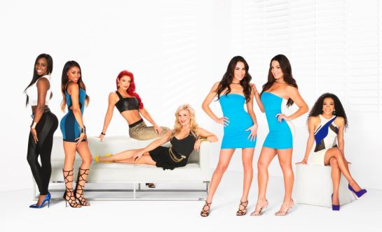 Total Divas: (left-right) Naomi, Cameron, Eva Marie, Natalya, The Bella Twins, JoJo