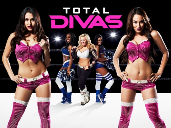 Total Divas: (left to right) Nikki Bella, Naomi, Natalya, Cameron, Brie Bella