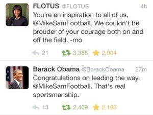 Tweet about Michael Sam - Obamas