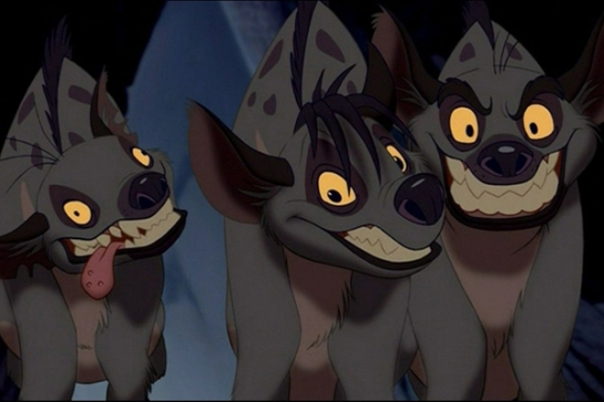 from The Lion King (1994). Voices: Whoopi Goldberg, Jim Cummings and Cheech Martin