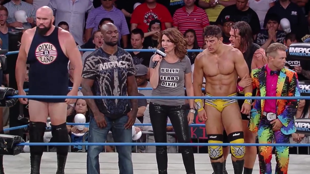 """Dixie Carter """"fires"""" the fans. IMPACT Wrestling. 2014."""