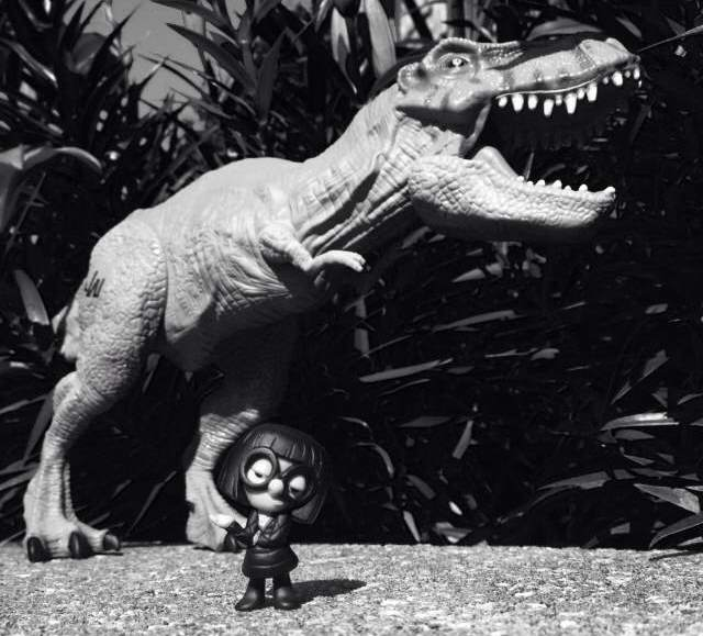 T-Rex meets Edna Mode. (c) 2015. Bobby James.