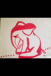 Pink Elephant. (c) 2013 Bobby James. Acrylic on Canvas, 5.5 x 8.5. Suggested Retail: $25 (OBO).